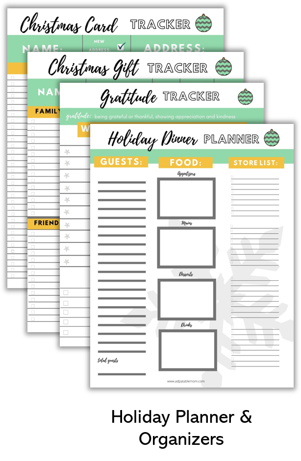 Holiday planner and organizers for tracking gifts, cards, gratitude, and dinners.